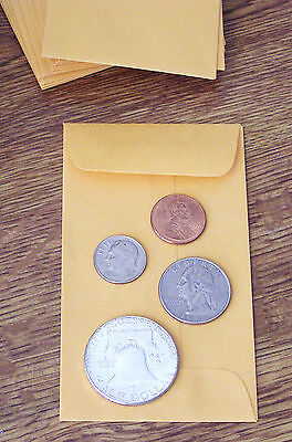 50 NEW SMALL 2 1/2 X 4 1/4 KRAFT COIN ENVELOPES-2.5 x 4.25 (coins not included)