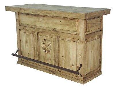 Honey Rustic Home Bar With Engraved Star Western Lodge Cabin Southwestern