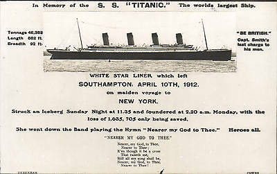 Titanic. In Memory of the SS Titanic by Debenham, Cowes.