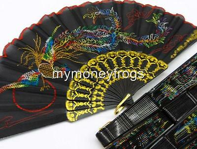 1x ONE BLACK Embroidery PHOENIX Wedding Party Summer Hand Dance Fan Decoration