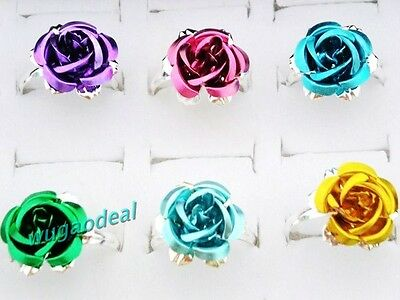 Lot 100pcs Silver Plated Big Flower Fresh Colorful Rose Ring