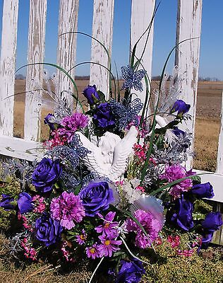 Angel KISS Memorial Day Funeral Sympathy Monument Grave Purple Urn Silk Flowers