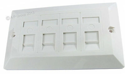 Quad 4 Port Way Gang Double Wall Face Plate Faceplate RJ45 Network Lan  Cat5e