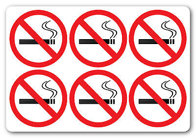 x100 - NO SMOKING sign/stickers 50mm x 50mm - Health and Safety - Law.