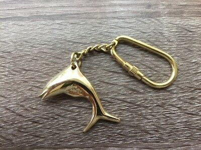 Brass Dolphin / Fish Keychain - Old Vintage Antique Style  - Necklace Pendant