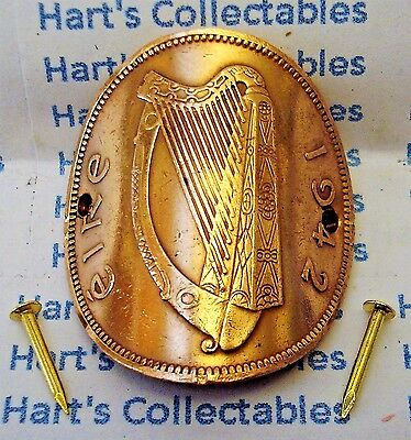 Walking Stick Badge//Mount Lucky EIRE//IRLANDE Genuine Copper Penny