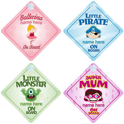 Baby on Board signs. Choose from over 30! - personalised with any name. Boy/Girl