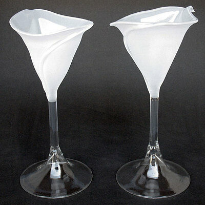 Calla Lily Lilies Flutes Champagne Glasses Frosted