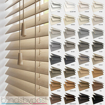 WOODEN VENETIAN WOOD BLINDS - MADE TO MEASURE - 25,35 & 50mm SLATS