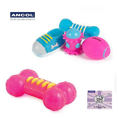 Ancol Small Pet Puppy Dog Toy Squeaky Chew Vinyl Purple 4 Pack
