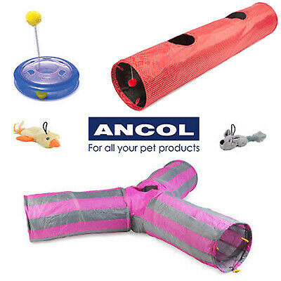 NEW Ancol Cat Play Tunnel Y Shape Red Polka Plastic Playground Cat Nip Pocket • EUR 3,27