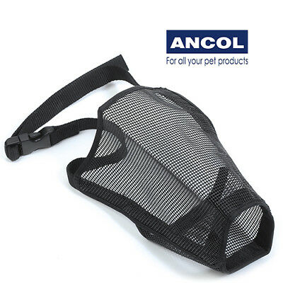 NEW Ancol Nylon Black Mesh Dog Muzzle Breathable Fabric Comfy Adjustable