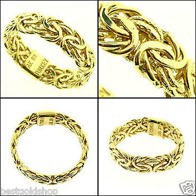 Shiny & Textured Byzantine Band Ring Genuine Real 14K Yellow Gold 6mm QVC