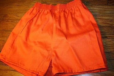 S ~ NOS vtg 80s SHORT SHORTS orange * GYM jogging TRACK p.e.