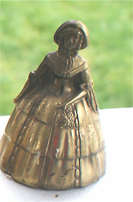 Vintage Bell Brass Ornate Lady Miniature Victorian Look Dress Nice Shape 3""