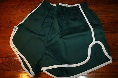 S ~ NOS vtg 70s sanforized SHORT SHORTS dark green * GYM jogging TRACK p.e. DG1