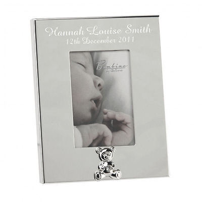 Personalised Silver Bear Motif Photo Frame Baby Gift Engraved Free