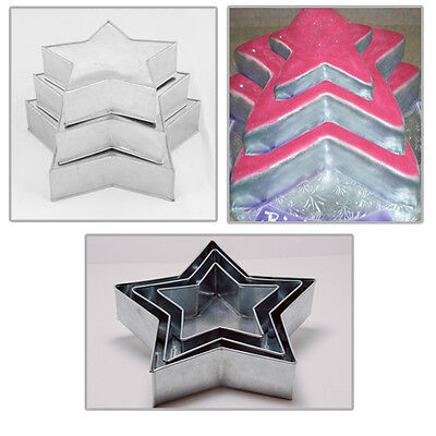 "3 Tier Heavy Duty Star Wedding Cake Tins  8"" 10"" 12"""