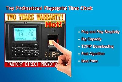 LCD FINGERPRINT PIN Employee Attendance Time Clock Biometric