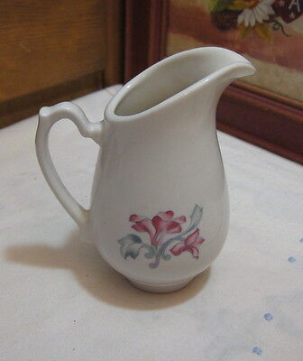 Vintage USA Restaurant China Pottery Creamer Floral White