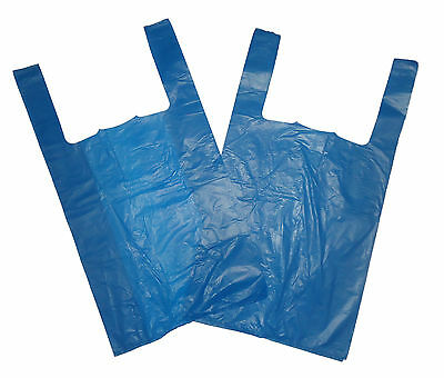 """100 x BLUE PLASTIC CARRIER BAGS 11"""" x 17"""" x 21"""" 16Mu Special Offer Free P&P"""