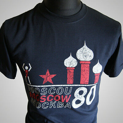 Moscow 1980 Olympic Games Retro Vintage T Shirt CCCP Russia USSR Classic 80's