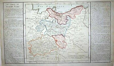 1767 CLOUET Géographie Moderne Map E GERMANY NW POLAND PRUSSIA Gdansk to Prague