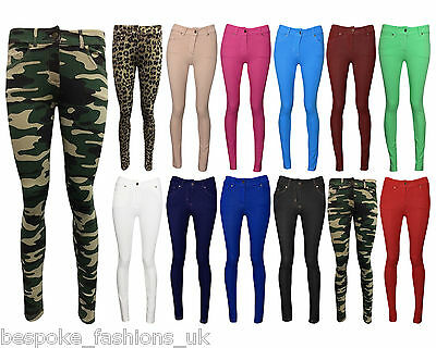 NEW LADIES SKINNY FIT COLOURED STRETCHY JEANS WOMENS JEGGINGS TROUSERS SIZE 8-14