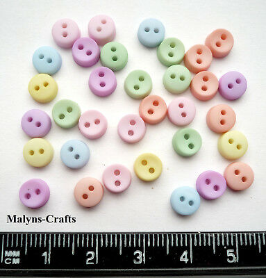 ROUND PASTEL 6mm Craft Buttons 1ST CLASS P&P Sewing Small Mini Doll Baby Clothes