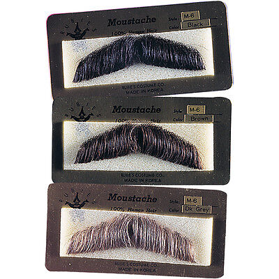 Human Hair Gent Gentleman Moustache Costume Mustache Black Brown Grey 2011