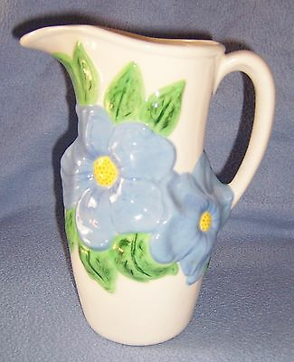 "Tall Blue White BIG FLOWER PITCHER Vase marked ceramic 8.5"" tall spring look 32+"