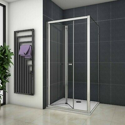 Walk In Chrome Bifold Shower Door Enclosure Glass Screen Side Panel Stone Tray V