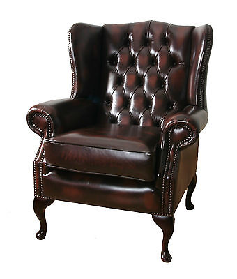 hand made leather chesterfield highback wing chair , direct from workshop in uk • £399.00
