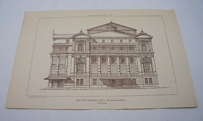THE NEW THEATRE NICE FRANCE Antique 19th Century French Architecture 1885 Aune
