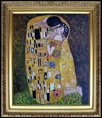 Framed Gustav Klimt the Kiss Reproduction, Hand Painted Oil Painting 20x24in