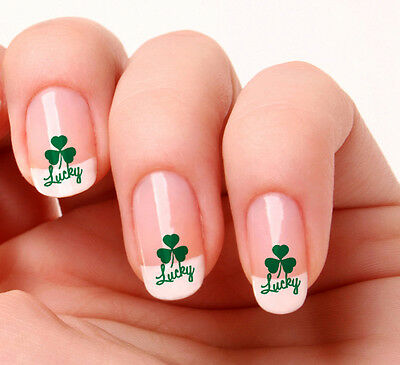 20 Nail Art Decals Transfers Stickers #177 - Lucky Shamrock Saint Patricks day