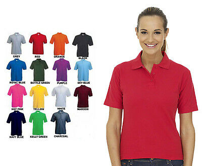 Ladies Lightweight Polo T Shirt Size 6 to 32 - 100% PLAIN WITH NO LOGOS - 124