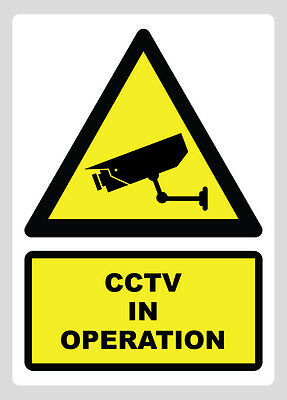 CCTV IN OPERATION Sign Sticker Vinyl Site Building Security 210mm x 297mm