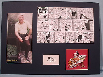 Beetle Bailey as drawn by Mort Walker and his autograph