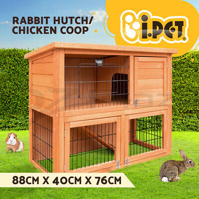 Rabbit Hutch Chicken Coop Guinea Pig Ferret Cage Hen House 2 Storey Run 8078