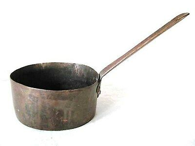 Antique Old Country Kitchen Heavy Copper Brass Cook Chafing Pan Pot Water Dipper