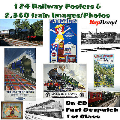 124 Railway Posters & 2,360 train Images/Photos on CD