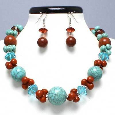 Silver Circle Round Turquoise Brown Smoked Topaz Pearl Earrings Necklace Set New
