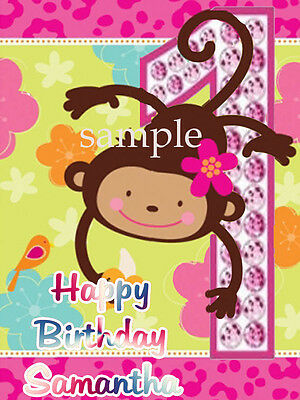 PINK Mod MONKEY Edible CAKE Topper Icing Image Frosting Sheet
