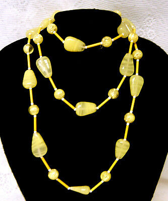 Art Deco Old Venetian Lemon Swirl Candy Corns Glass Beads Extra Long Necklace