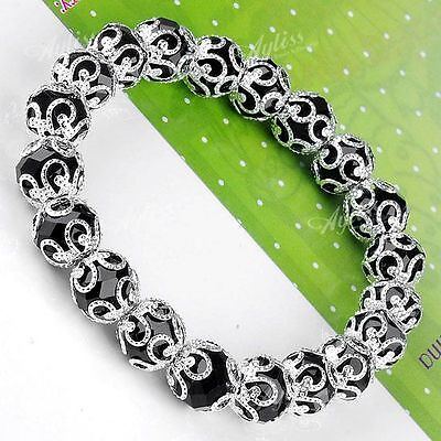 "7"" Black Crystal Glass Flower Faceted Bead Stretchy Women's Bracelet Bangle Gift"