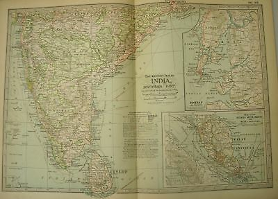 SOUTHERN INDIA MALAY Antique 1902 Color Map Frameable