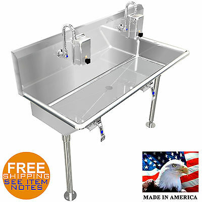 "Hand Sink Industrial 40"" 2 Users Hands Free Lavabo Stainless Steel Heavy Duty"