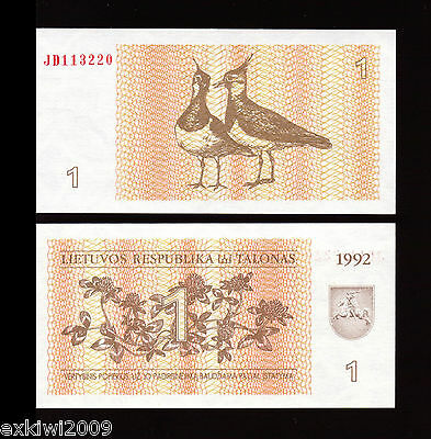 Lithuania 1 Talonas 1992 P-39  Mint UNC Uncirculated Banknotes