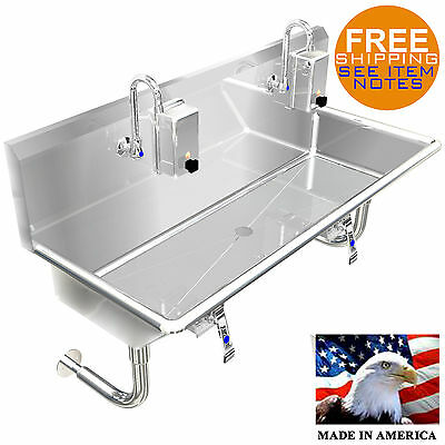 """Hand Sink Industrial 2 Person Wash Up Sink, 40"""" Hands Free, Lavatory Made In Usa"""